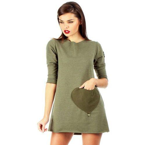 Mini sukienka – tunika z kieszenią w kształcie serca MOE053 khaki (5902041110494)