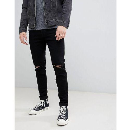 Hollister destroy super skinny jeans in black - Black, kolor czarny
