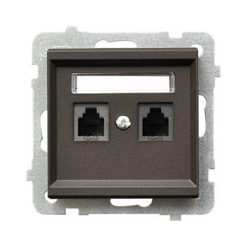 Gniazdo telefoniczne Ospel Sonata GPT-2RN/m/40 podwójne niezależne czekoladowy metalik, GPT-2RN/M/40