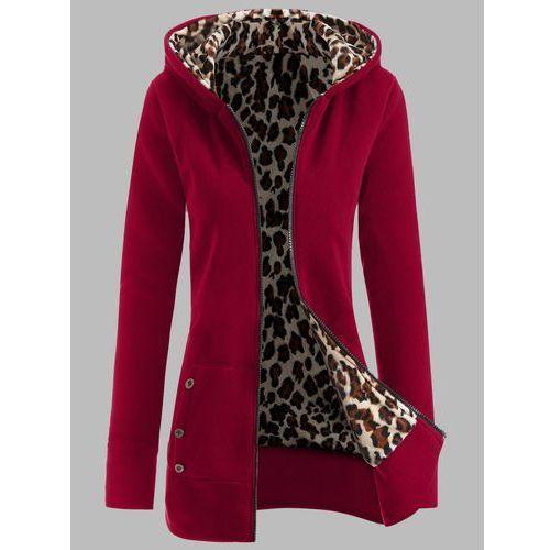 Plus Size Leopard Pattern Fur-Lined Coat