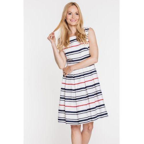 Rozkloszowana sukienka w paski - Vito Vergelis, kolor biały