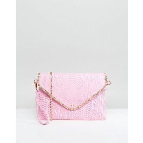 Yoki fashion Yoki croc effect clutch bag with detachable strap - pink