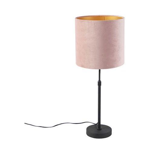 Qazqa Lampa stołowa regulowana czarna klosz welurowy różowy 25cm - parte