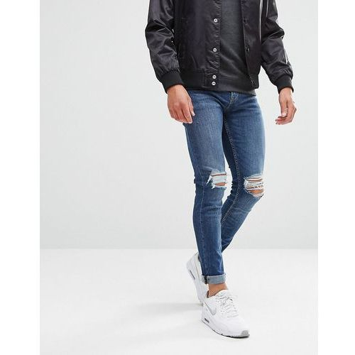skinny jeans with knee rip in mid blue wash - blue, New look