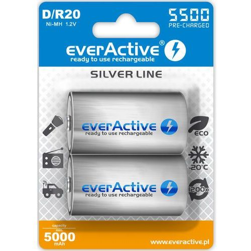 "Everactive 2x r20/d ni-mh 5500 mah ready to use ""silver line"""