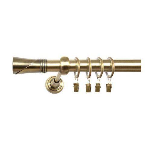 Karnisz Pojedynczy ELA Ø25mm Loca: dlugosc karniszy - 340 cm, Rodzaj - Metalowy, typ karnisza - Pojedynczy, Kolor Karnisza - Antyczny Mosiądz, Mocowanie - Ścienne, Rozmiar Drążka - 25mm