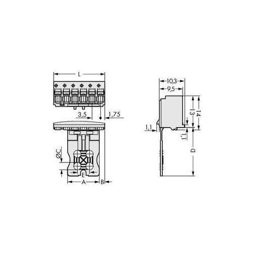 Wago Obudowa męska na pcb  2091-1108/000-5000, ilośc pinów 8, raster: 3.50 mm, 50 szt.