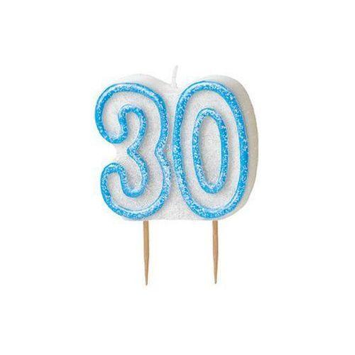 Brokatowa świeczka na 30-tke z niebieską obwódką - 1 szt. marki Unique
