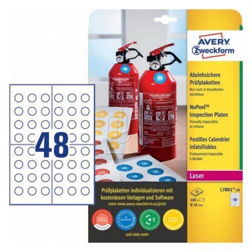 Tabliczki inspekcyjne No Peel Avery Zweckform 20mm 10 arkuszy L7801-10, 87860