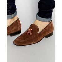 Red tape tassel loafers in brown suede - brown