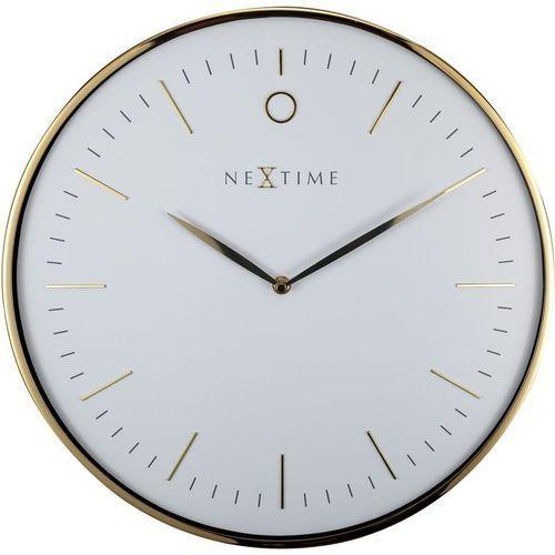 Nextime - zegar ścienny glamour - biały