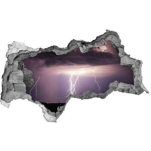 Dziura 3d w ścianie naklejka Burza z piorunami
