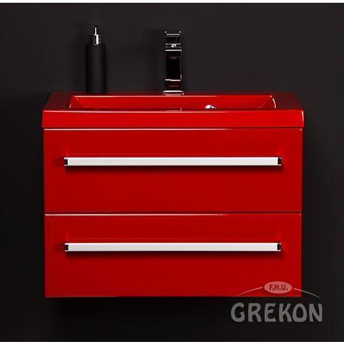 Czerwona szafka wisząca z umywalką 60/39/2CZ seria Fokus CZ