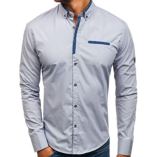 Koszula męska elegancka z długim rękawem szara 8802 marki Bolf