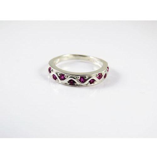 Srebrny pierścionek 925 RÓŻOWE OCZKA r. 13, kolor różowy