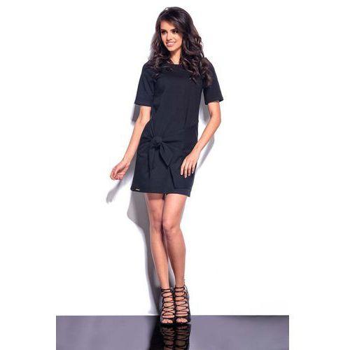 Czarna mini sukienka z wiązaną nakładką marki Lemoniade