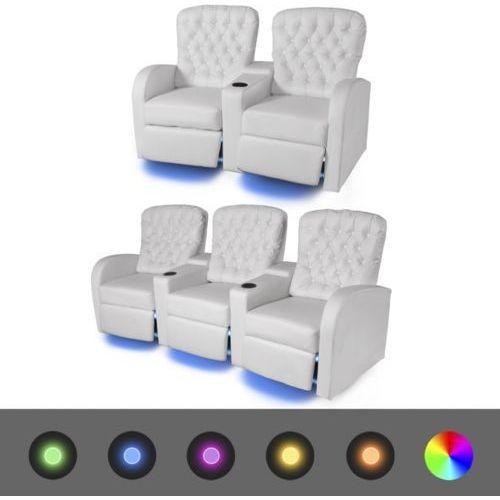 vidaXL Fotele kinowe 2 + 3 osobowe, biała, sztuczna skóra z podświetleniem LED (8718476018628)
