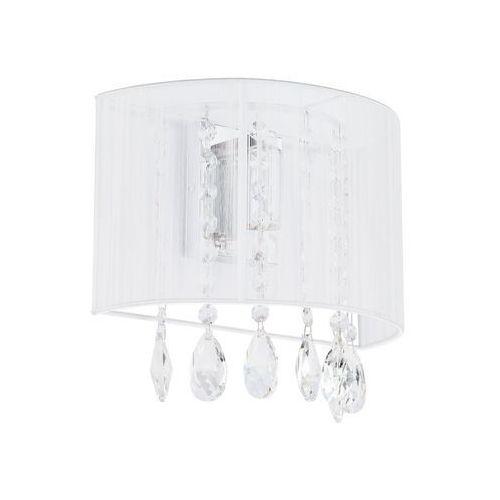 Dekoracyjny kinkiet LAMPA ścienna ESSENCE A9262/1 Italux abażurowa OPRAWA glamour kryształki crystal mgła organza biała, A9262/1 WH