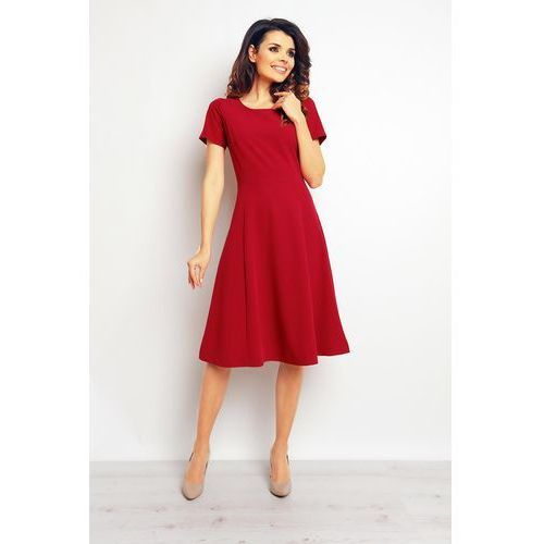 Infinite you Bordowa elegancka rozkloszowana sukienka