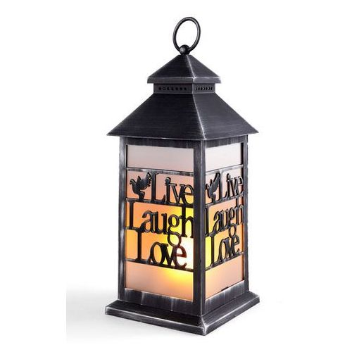 Lampion LED z napisem Live, Laugh, Love bonprix antracyt - shabby