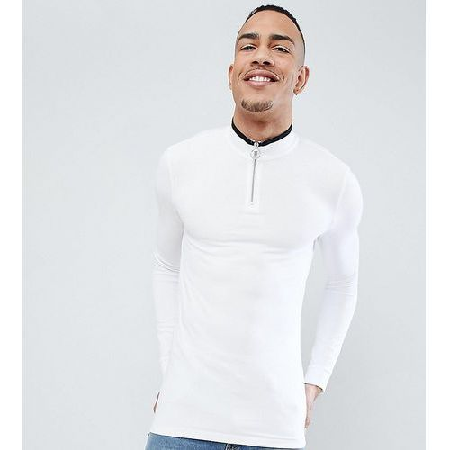 ASOS TALL muscle fit pique long sleeve t-shirt with zip neck and tipping - Multi, w 5 rozmiarach