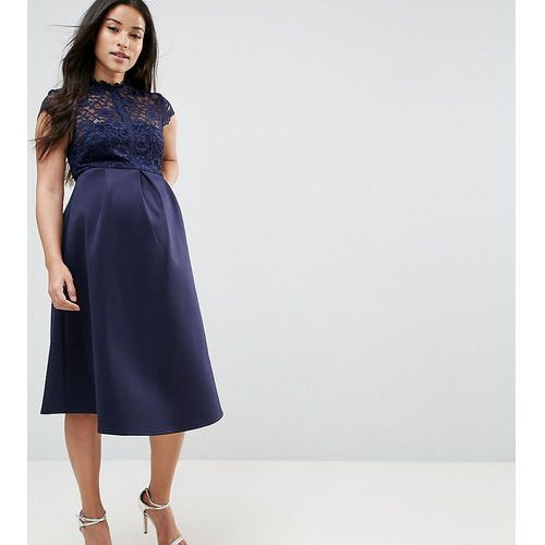 ASOS Maternity High Neck Midi Skater Dress with Lace Top - Navy