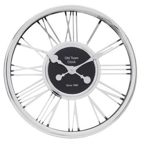 Chromowany zegar na ścianę w modernistycznym stylu, nowoczesny zegar, zegar do salonu, zegar kuchenny, zegar ścienny srebrny, kolor szary