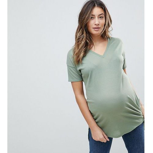 ASOS DESIGN Maternity oversized longline t-shirt with v-neck in lightweight rib - Green