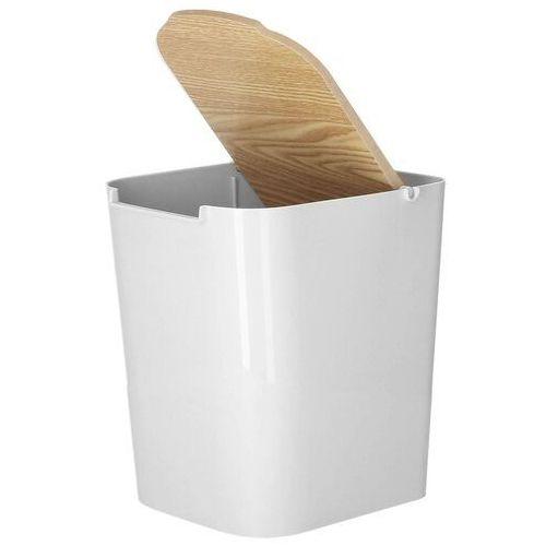 Kosz na śmieci 5L z drewnianą pokrywką szary (5907719412368)