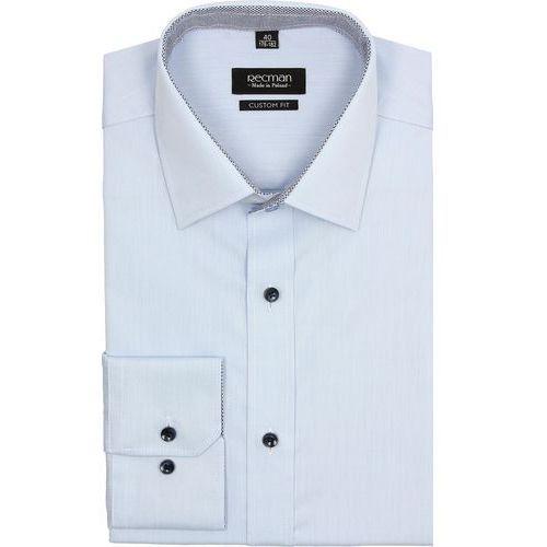 koszula bexley 2440 długi rękaw custom fit niebieski, bawełna