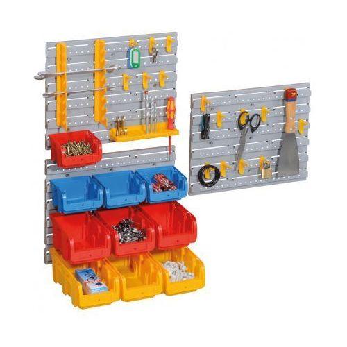 Zestaw ścian plastikowych z pojemnikami i uchwytami na narzędzia