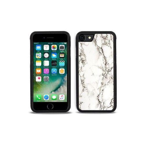 Apple iphone 7 - etui na telefon aluminum fantastic - biały marmur marki Etuo aluminum fantastic