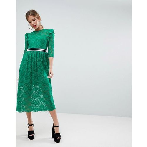 ASOS Midi Lace Tea Dress with Sports Tipping - Green, kolor zielony