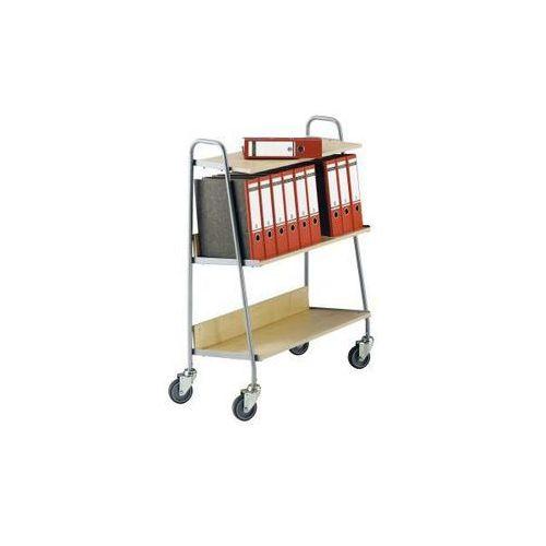 Wózek na segregatory z 2 półkami, dł. x szer. x wys. 850x350x1070 mm, srebrny / marki Wilhelm ebinger