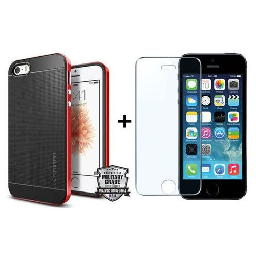 Zestaw | Obudowa Spigen Neo Hybrid Carbon Dante red + Szkło ochronne Perfect Glass dla modelu Apple iPhone 5 / 5S / SE