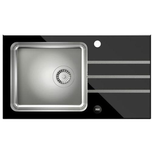 Zlewozmywak STEINER Jack 111 ST3577SC3BS-BW7059CZP (blat szklany) Czarny + bateria Naomi, kolor czarny