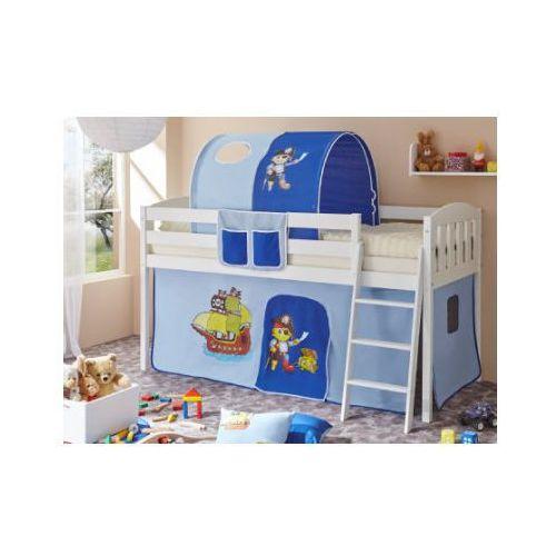Ticaa łóżko z drabinką eric v sosna biały, pirat jasnoniebieski-ciemnoniebieski wyprodukowany przez Ticaa kindermöbel