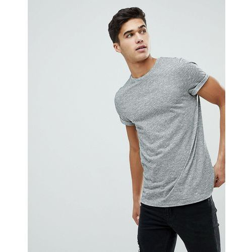 ASOS T-Shirt In Twisted Jersey Textured Fabric With Roll Sleeve - Grey