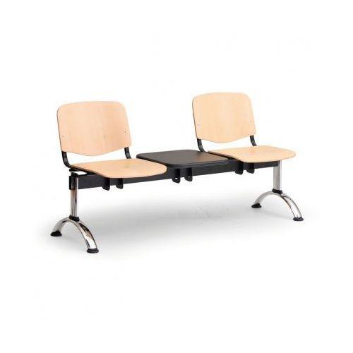 Drewniana ławka do poczekalni iso, 2-siedziska + stolik, chromowane nogi marki Euroseat