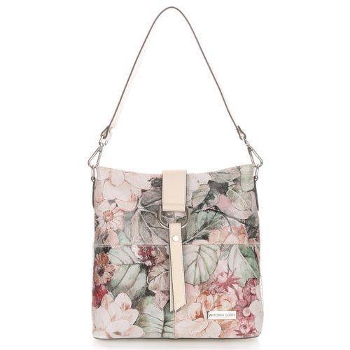 Modna Torebka Listonoszka Skórzana XL Vittoria Gotti Made in Italy we wzory Kwiatów Beżowa (kolory), kolor beżowy