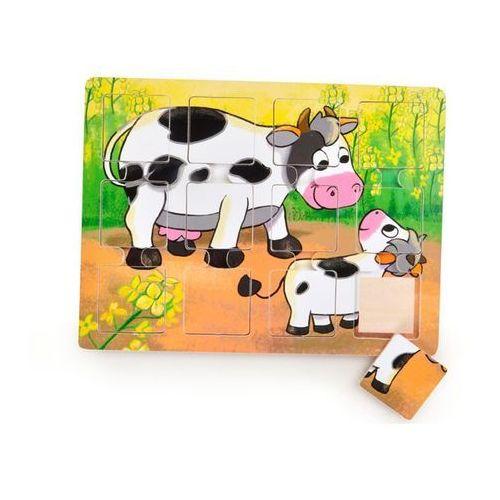 Puzzle drewniane dla małych dzieci Krówka i cielak (5907791573810)