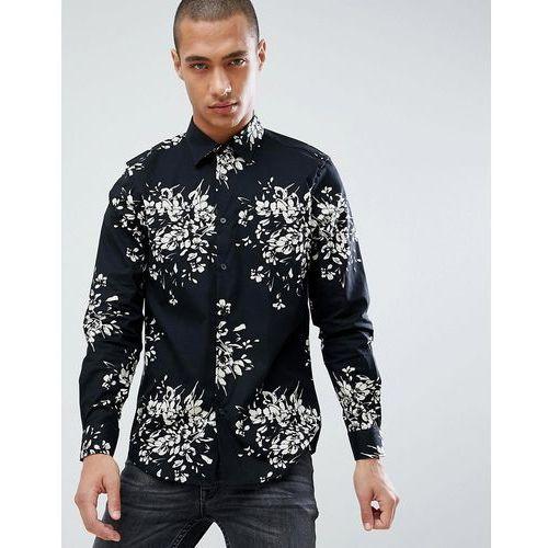 Burton Menswear Slim Fit Shirt With Floral Print In Black - Black, w 2 rozmiarach