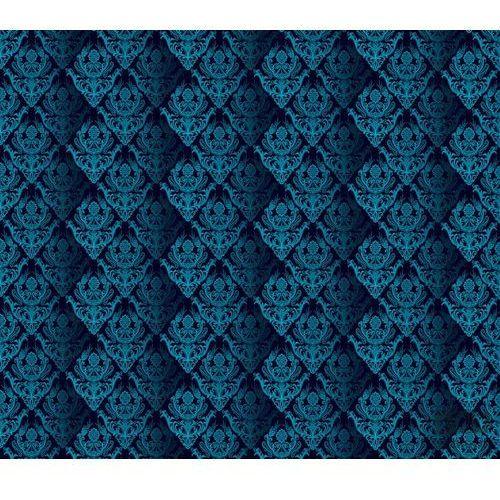 Consalnet Fototapeta tradycyjne kwiatowe wzory – błękitne na czarnym tle 1461