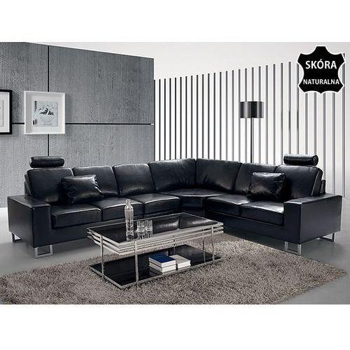 OKAZJA - Beliani Stylowa sofa kanapa z czarnej skóry naturalnej narożnik stockholm