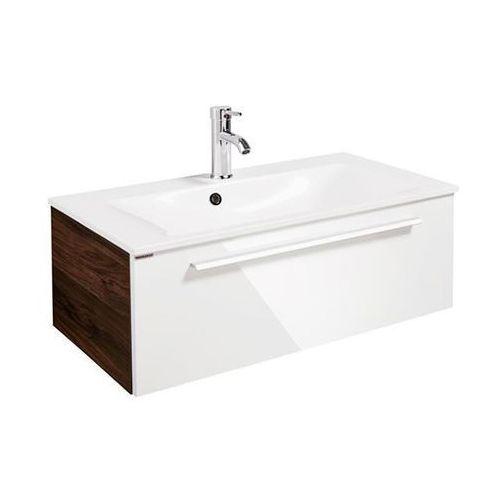 Yega 80 Zestaw umywalka konglomerat + szafka pod umywalkę FACKELMANN 74003 - Biały wysoki połysk \ 80 cm \ Konglomerat