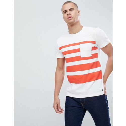 Esprit Heavyweight Stripe T-Shirt With Pocket - White, w 3 rozmiarach