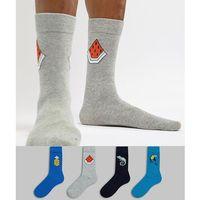 Jack & jones 4 pack novelty placement print socks - multi