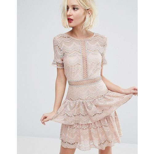 lace tiered dress - brown, River island