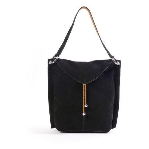 Skórzana torebka worek, kolor czarny