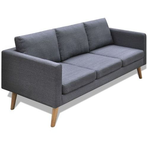 vidaXL Sofa 3-osobowa, materiałowa, ciemnoszara, vidaxl_242221